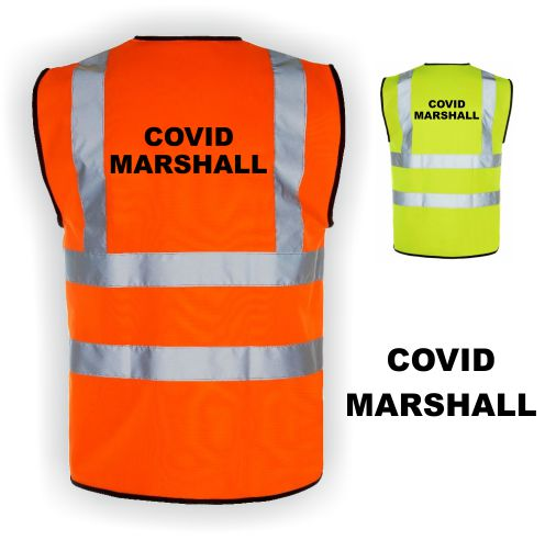 Hi Vis Covid Marshall Vests Yellow & Orange